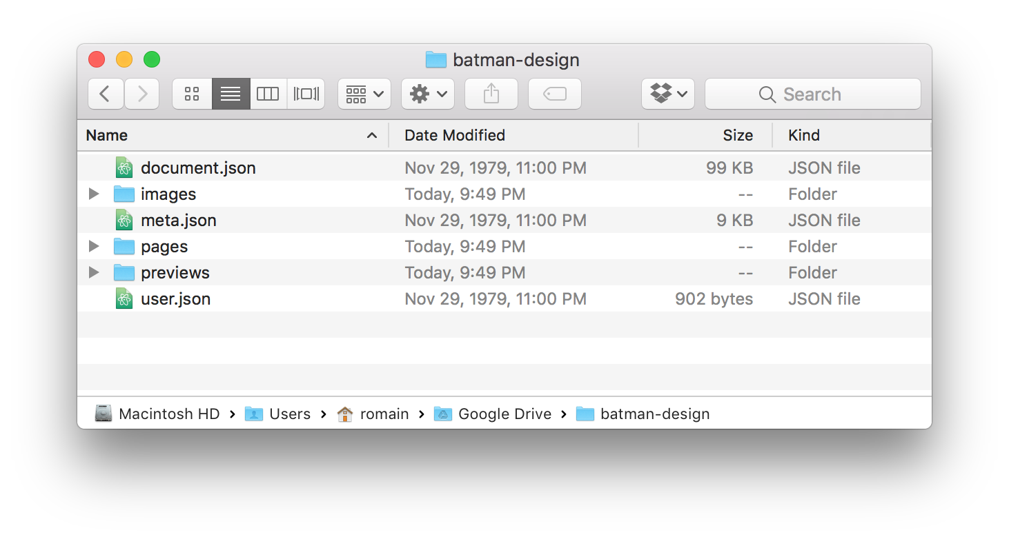 Content of the batman Sketch file