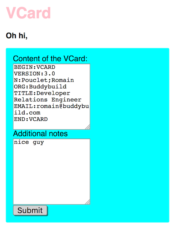 A form to submit VCard from the browser