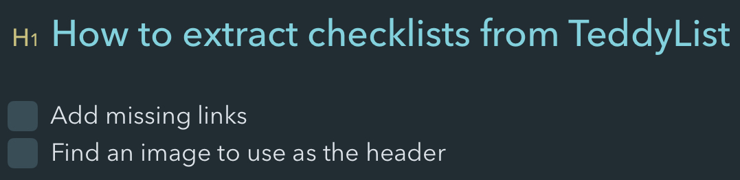 Example of a checklist in Bear
