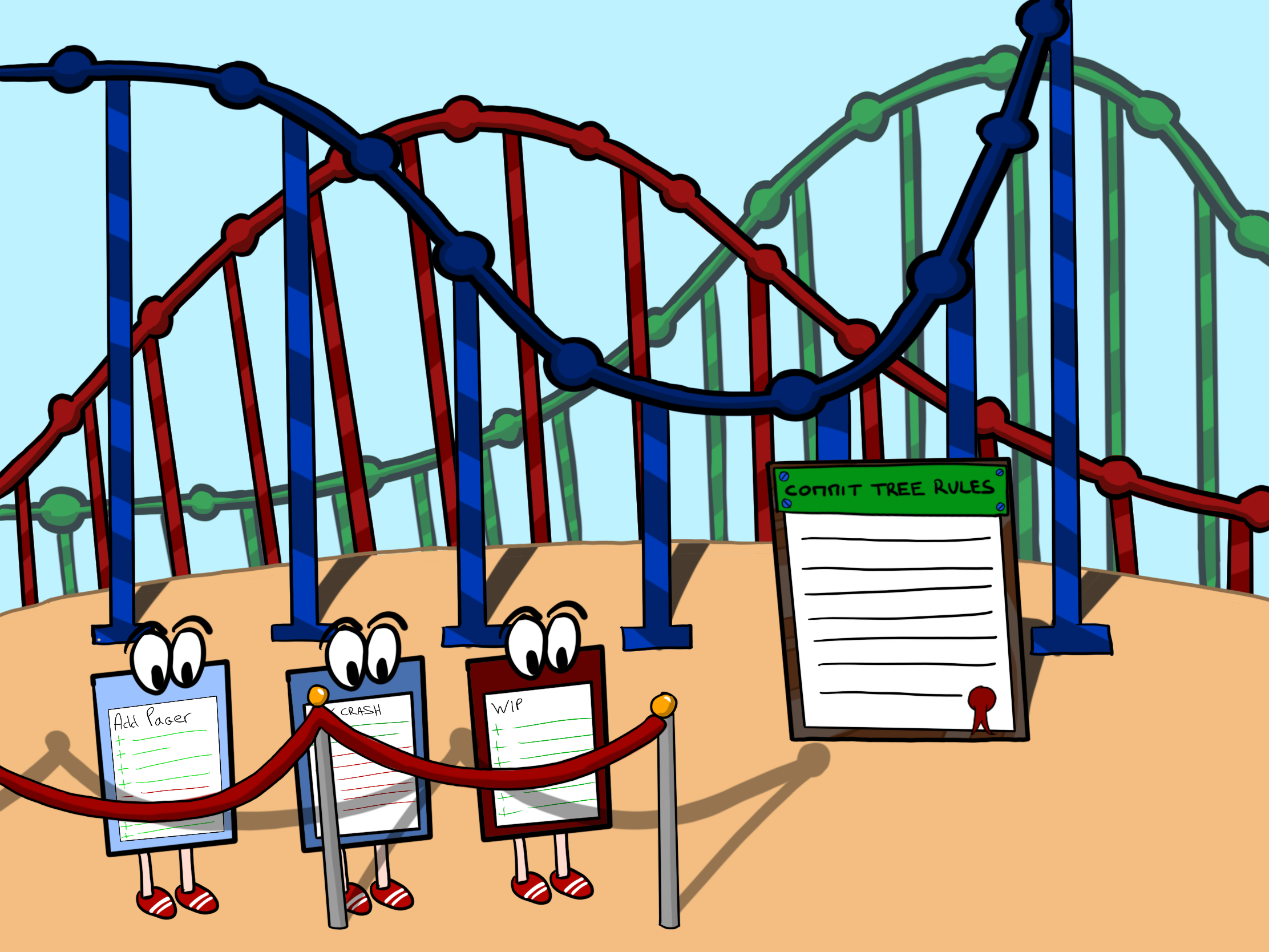 Git commits characters waiting in line to ride a roller coaster